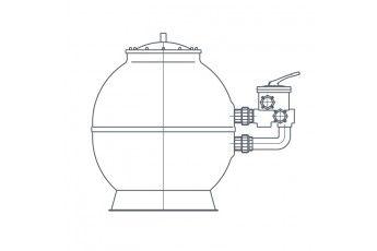 Filtro A Sabbia Piscina Con Valvola 6 Vie - Portata 59 Mc/h
