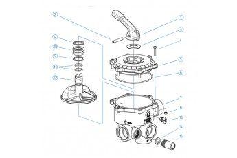 Ricambi Valvola Selettrice Diametro 1 1/2''- Coperchio Completo Di Maniglia