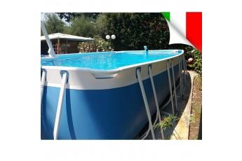 Piscina Fuori Terra 280x380x125 Cm. Piscina Rettangolare Con Filtro A Sabbia