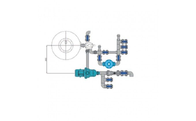 Impianto filtrazione piscina a sfioro completo, 22 mc/h.