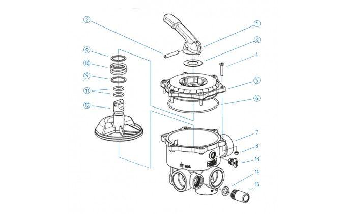 Ricambi valvola selettrice diametro 3''- coperchio completo di maniglia