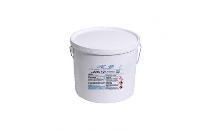 Pastiglie cloro piscina da 200 gr al 90%. secchio da 5 kg