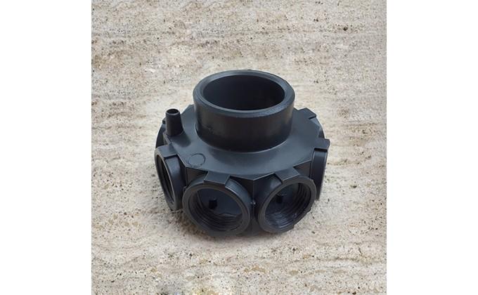 """Collettore per filtro piscina 8 fori, 1"""" diametro attacco bracci 50 mm"""