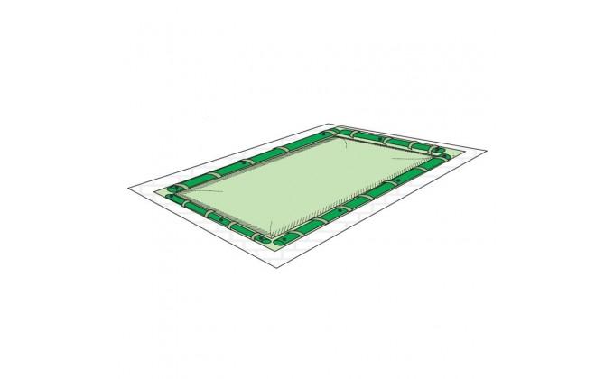 Copertura per piscina 5 x 10 mt con tubolari per fissaggio.