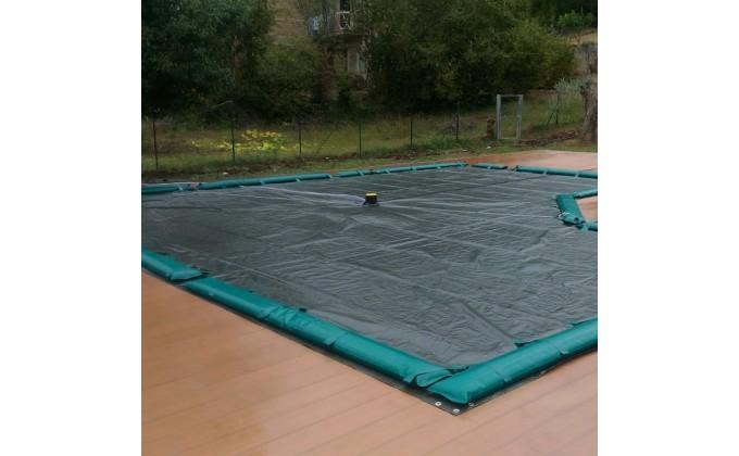 Copertura per piscina 6 x 12 mt con tubolari per fissaggio.