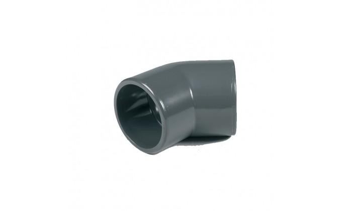 Gomito pvc ad incollaggio 45 gradi - diametro 125mm